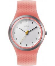 Braun BN0111WHPKL Dámská sportovní neon broskev silikonový pásek hodinek
